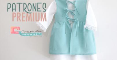 Patrones PREMIUM: Vestido de lino con delantal para niñas (talla 9 meses a 8 años)