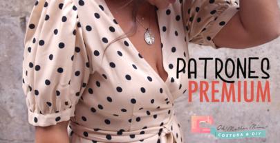 Patrones PREMIUM: Vestido cruzado con manga de globo para mujer (tallas 36 – 44)