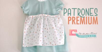 Patrones PREMIUM: Vestido helados delantal para niñas (tallas 9 meses a 8 años)