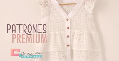 Patrones PREMIUM: Blusa blanca con doble volante mujer (tallas 36 – 42)