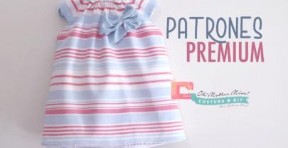 PATRONES PREMIUM: Vestido para niñas de rayas con cuello fruncido (tallas 9 meses – 8 años)