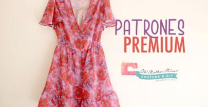 PATRONES PREMIUM: Vestido morado y rojo mujer (tallas 36-44)