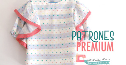 PATRONES PREMIUM: Vestido recto rayas plumeti volante (tallas de 1 a 8 años)