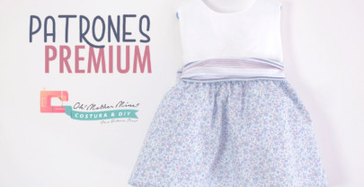 PATRONES PREMIUM: Vestido combinado rayas y flores (tallas de 9 meses a 8 años)