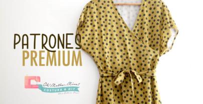 PATRONES PREMIUM: Vestido cruzado mostaza para mujer (tallas 36 a 44)